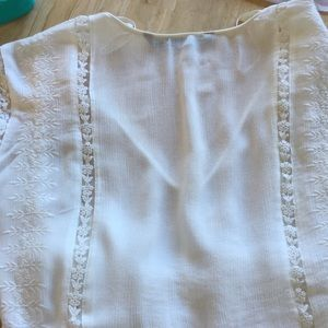 ZARA Tops - ZARA OFF WHITE LACE & COTTON /POLY BLOUSE